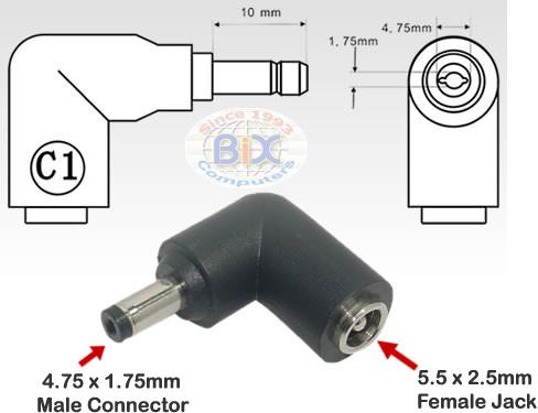 C1  475x175mm Male Plug with    5   5x25mm    Female       Jack    DC