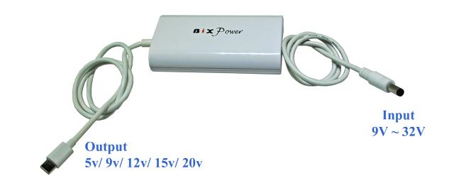 USB Type C Power Converter with 5V, 9V, 12V, 15V & 20V Power Delivery (PD)